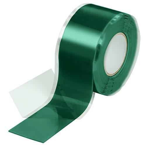 Poppstar 1x 3m selbstverschweißendes Silikonband, Silikon Tape Reparaturband, Isolierband und Dichtungsband (Wasser, Luft), 25mm breit, grün