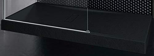 Piatto Doccia Novellini Custom Touch Dimensione 160x90 Altezza Spessore 12 cm Colore Nero Appoggio Pavimento Effetto Pietra Acrilico Compreso Piletta Scarico e Copri Piletta