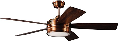 Craftmade Ceiling Fan with LED Light and Remote BRX52BCP5 Braxton Brushed Copper 52 Inch Dimmable