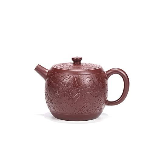 Huijunwenti Yixing teiera Famosa teiera a Mano Viola Zhu Ni tè teiera Volante di Loto, di Alta qualità (Color : Purple Zhu Mu)