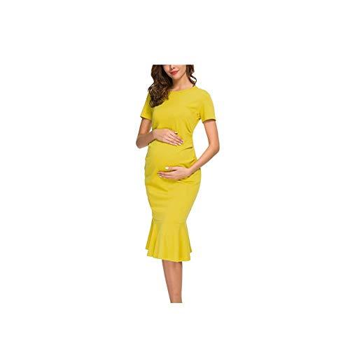 CoTime Womens Moederschap Jurk Bodycon Ruched Korte Mouw Zeemeermin Jurk Zwangerschap Rok Premama Zwangere Jurk