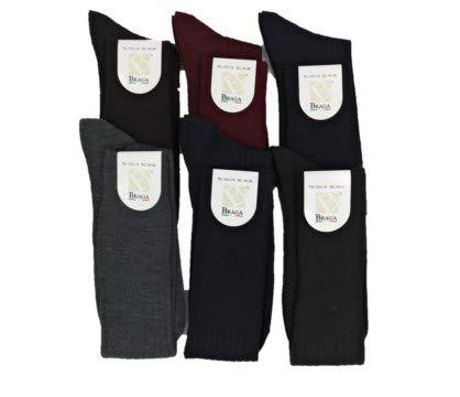 BRAGA calza lunga uomo in lana 6 PAIA (11½12 42/44, NERO)