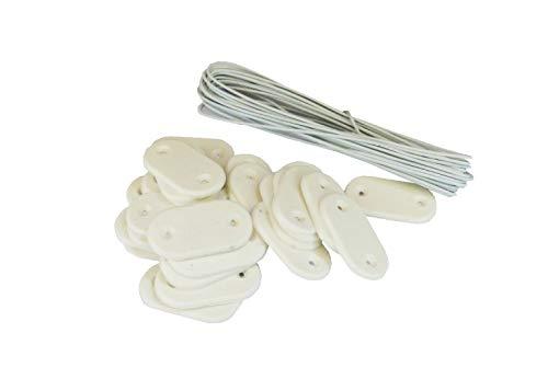 MAILLESTORE Kit de Fixation Brise-Vue - Lot de 10 Kits (26 pastilles + 4m de Fil par kit) Blanc Lot de 10 Kits