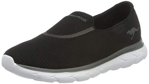 KangaROOS Damen KN-Slip Flacher Slipper, jet black/steel grey, 40 EU