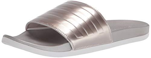 adidas Women's Adilette Comfort Slide Sandal, Champagne Metallic/Champagne Metallic/Crystal White, 10