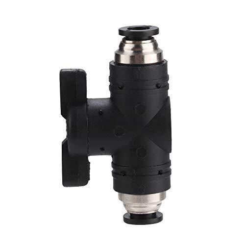 ROSEBEAR 2-Wege-Aquarium-Luftstromregelung, CO2-Regler, manueller An-/Ausschalter, Rückschlagventil für 6 mm Rohrleitung, gerader Anschluss