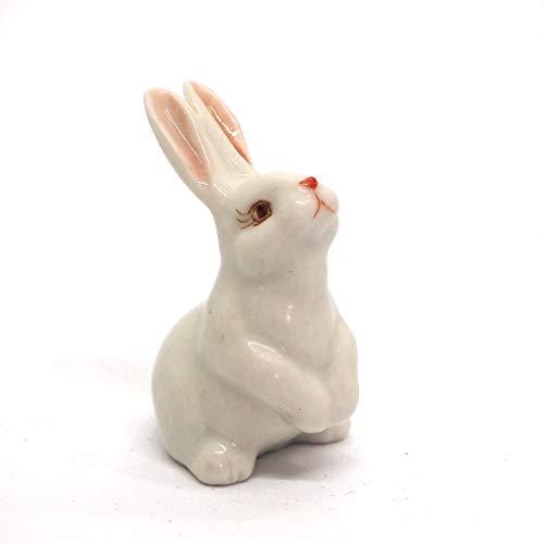ZOOCRAFT Porcelain Rabbit Bunny Figurine White Hand Painted Ceramic Miniature Terrarium Decor
