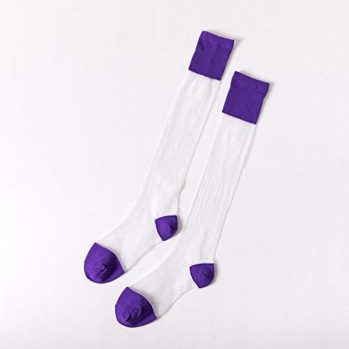 Calcetines de Barco de Encaje,Calcetines de Becerro para Mujer Medias de Cristal Personalizadas Transparentes * 5-5_A
