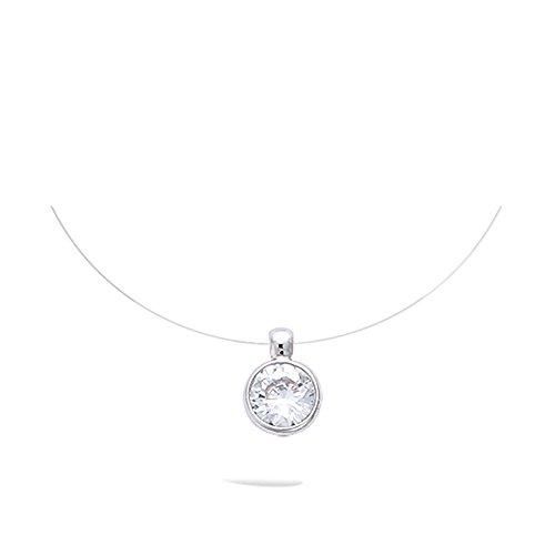 Damen-Halskette aus Nylonband, Anhänger aus Silber 925/000,rhodiniert, mit rundem Zirkonia-Solitär, 6mm