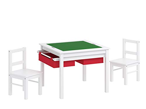 UTEX EX 2-in-1 Kids Multi Activity Table and 2 Chairs Set with Storage (White with Red Drawer)