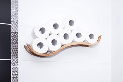 Toilettenpapierhalter, Badregal, aus Holz, wellenförmig, personalisierbar
