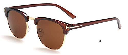 8bayfa Sonnenbrille Medium Metall Brille für Frauen Rahmen für Herren Brille Rahmen Vintage Brille Quadratische Gläser Optische Brille Tee 1