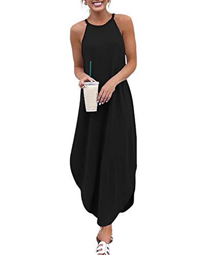 YOINS Sommerkleid Damen Lang Sexy Oversize Ärmellos Strandkleid Casual Partykleid Elegant Lose Kleid HoheTaille Schwarz 36-38