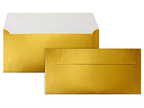 100 Gold-Metallic Brief-Umschläge DIN Lang - 11 x 22 cm - Haftklebung - glänzende Kuverts für große Einladungen und Karten, Hochzeit & Weihnachten