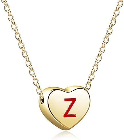 Howoo Small Heart Necklace Gold Initial Necklaces for Women Teens Girls Letter Pendant Necklace 14K Gold Plated Gift for Her