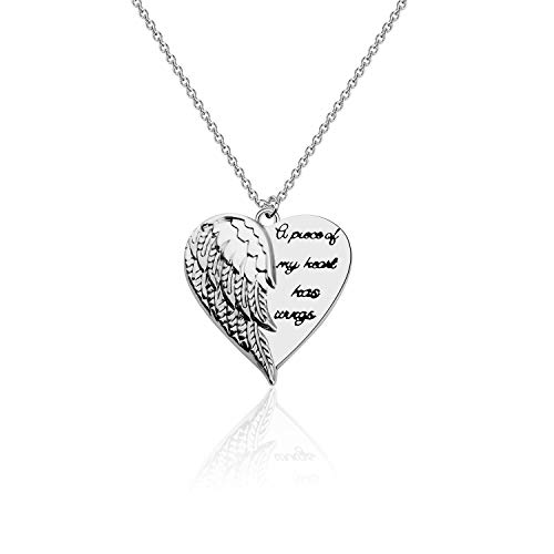FOTAP Memorial jewelry Sympathy Gift A Piece Of My Heart Has Wings Necklace Miscarriage Memorial Gift Bereavement Necklace For Loss Of Loved One (Has Wings Necklace)