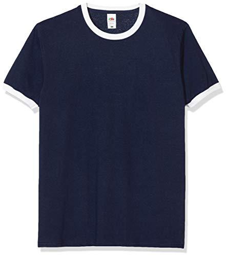 Fruit of the Loom - SS040M - T-Shirt - Homme - Bleu (Bleu marine/blanc) - Taille: XXL