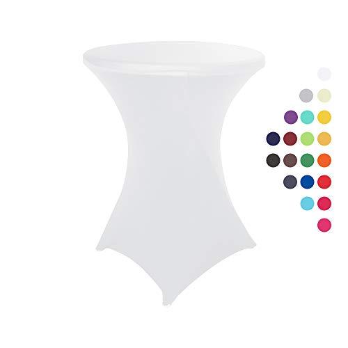 HAORUI Stretch Stehtischhussen, Elastische Tischdecken, Spandex Hussen für Rund, Cocktail Bistrotisch und Dekoration für Hochzeiten, Feiern(60cm Weiß)