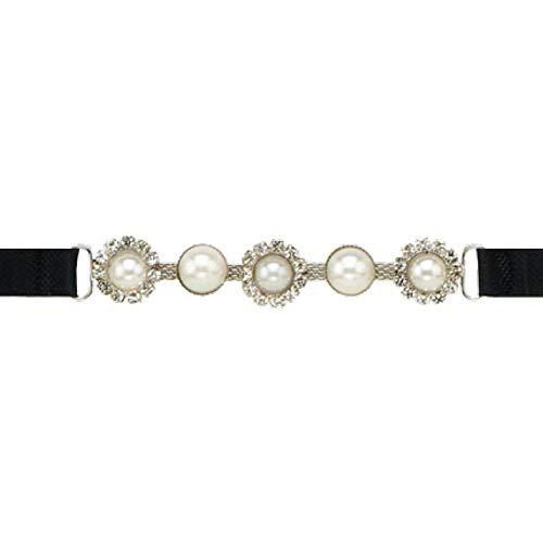 PRYM 991937 BH-Träger schwarz Strass / weiße Perlen, 2 Stück