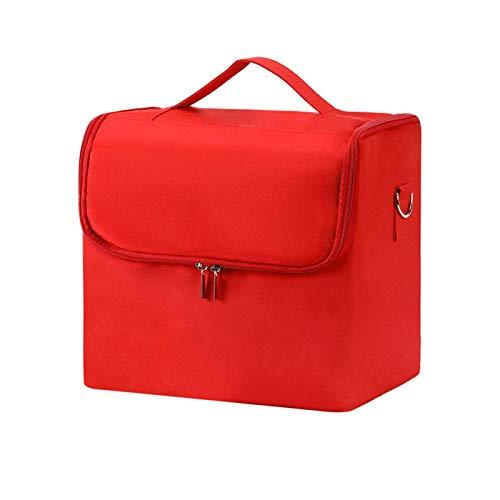JSJJAOL Bolso de Cosméticos Bolso cosmético Profesional Mujeres Maquillaje Multilayer CLAPBABLE Caja de Almacenamiento de Gran Capacidad Malticapa Maleta Malticapa (Color : Red)