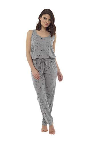 Fox bury Damen-Jumpsuit/Loungesuit mit Faultier-Aufdruck. Gr. 48/50 DE, grau