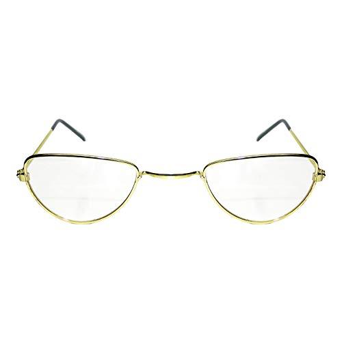 Gafas de abuela en forma de media luna para disfrazarse, cristales transparentes