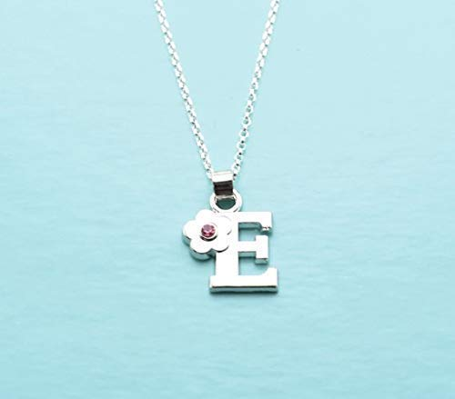 Letter C. Little Girls Initial Charm Necklace in Silver Toned Metal and Acrylic Charm Pendant Little Girls Jewelry