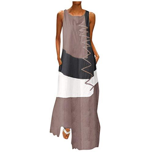 SSDXY Dress for Women Vintage Boho Patchwork Print Daily Casual Sleeveless V Neck Long Maxi Dress Plus Size