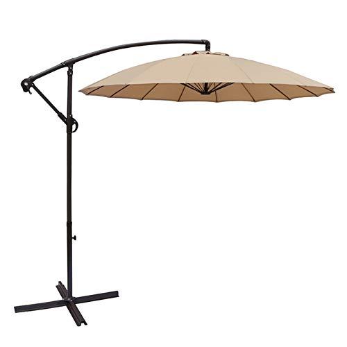 MMBBOD 270cm sombrillas terraza inclinable Parasol de Jardín, 3m Grande Sombrillas Patio con Manivela Protección Solar UV 50+, para Jardín Patio Playa Exterior (Color : Beige)