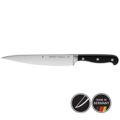 WMF Spitzenklasse Plus Küchenmesser, mit Doppelwellenschliff 32,5 cm, Spezialklingenstahl, Messer geschmiedet, Performance Cut, Kunststoff-Griff vernietet, Klinge 20 cm