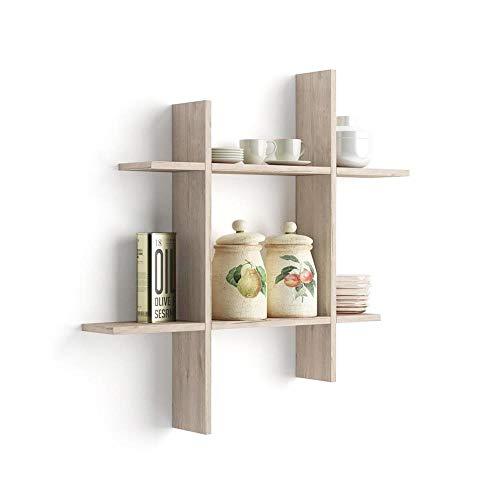 Mobili Fiver, Mensole Angelica Quercia, 90 x 90 x 15 cm, Nobilitato, Made in Italy