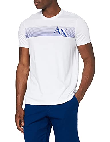 ARMANI EXCHANGE Magnetic Stripe Logo T-Shirt, Bianco (White 1100), Medium Uomo