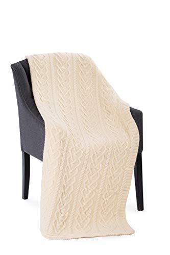 SAOL 100% Merinowolle Herz-Muster Warme und Weiche Aran Decke in Natur, 67 x 49 Zoll