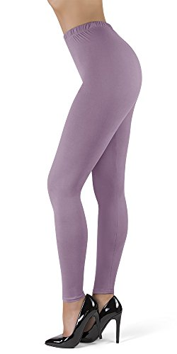 SATINA High Waisted Ultra Soft Full Length Leggings | 1' Waistband | 22 Colors | (OS, Lavender)