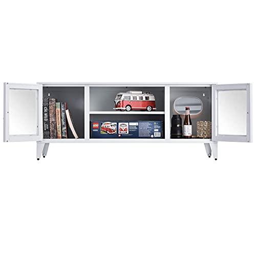 Mueble Moderno Mesa de Centro Mueble para TV Soporte de TV de Metal Multifuncional para televisores de hasta 55'Centro de Entretenimiento para TV con 2 Puertas y estantes Abiertos Escritorio de Alma