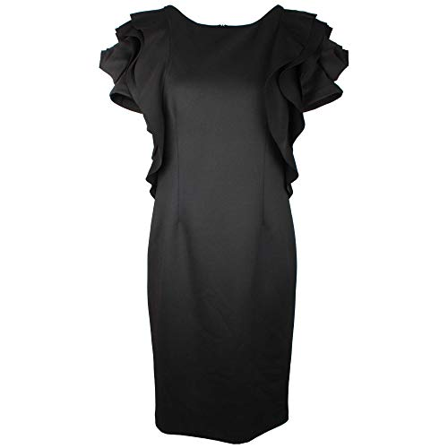 Frank Lyman Fitted Black Dress with Rose Detail 14 UK Black