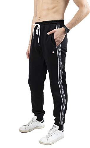 Champion Herren Seasonal American Tape Rib Cuff Pants Jogginghose, Black, S