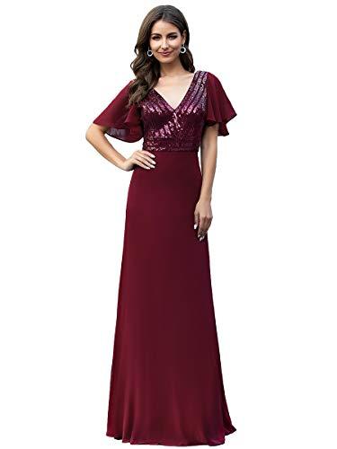 Ever-Pretty Abito da Sera Lungo Stile Impero Manica a Tromba Elegante Damigella Vestito da Sera e Cerimonia 00624 Borgogna 48