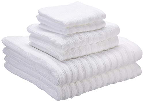 iDesign Juego de 6 Toallas de baño con Lazo para Colgar, Toallas de algodón 100% con Relieve a Rayas, Juego de Toallas con 2 de baño, 2 de Lavabo y 2 de tocador, Blanco
