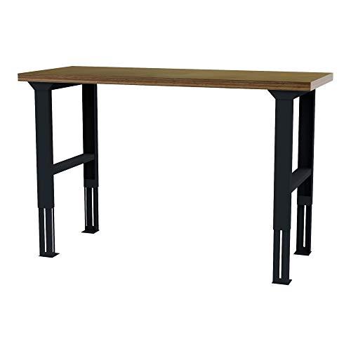 STIER höhenverstellbarer Werktisch, BxTxH 1500x600x760-1060 mm, Hergestellt in Deutschland, aus Stahl und Buche, umweltfreundlich Pulverbeschichtet