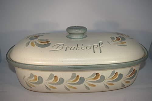 Töpferei Seifert Brottopf Schilf Gross 40 cm | Brotkasten | Brotbox | Brotdose | Brotbehälter | Steinzeug | LxB 41x25