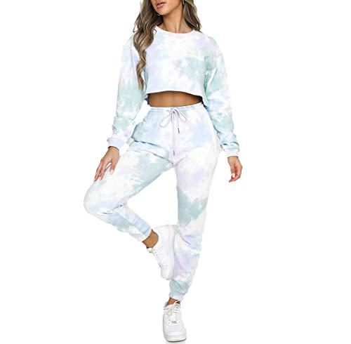 QPALZM Damen lässig 2-teilige Trainingsanzüge Outfits Tie Dye Langarm Crop Tops Sweatshirt Kordelzughose mit Taschen Herbst Jogger Set (Light Green, S)