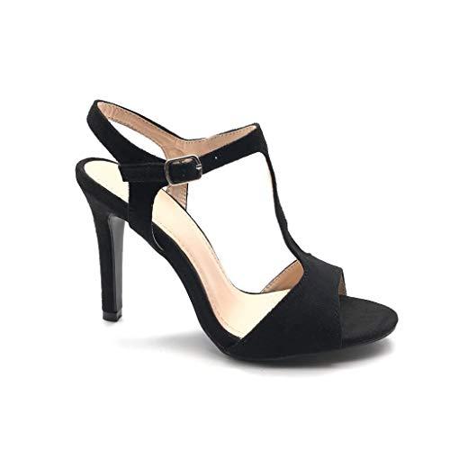 Angkorly - Chaussure Mode Escarpin Sandale salomés Ouvert Hauts Talons Femme lanière Simple Basique Classique Talon Haut Aiguille 10 CM - Noir - BS252 T 38