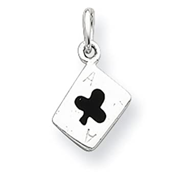 925 Sterling Silver Enameled Ace Of Clubs Card Pendant Charm Necklace Gambling Fine Jewelry For Women Gifts For Her