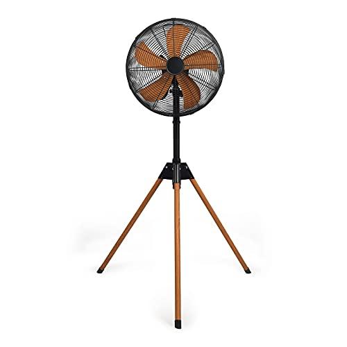 Standventilator Leise Dreibein - Ventilator Stand mit Stativ Höhenverstellbar - Standlüfter 3 Geschwindigkeiten - 40 cm Durchmesser Höhe 130 cm - Schwarz Braun