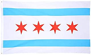 Ashley ZC City of Chicago Polyester Flags 3x5 Ft, Chicago State IL Flag with Brass Grommets - Bright Color and UV Protection
