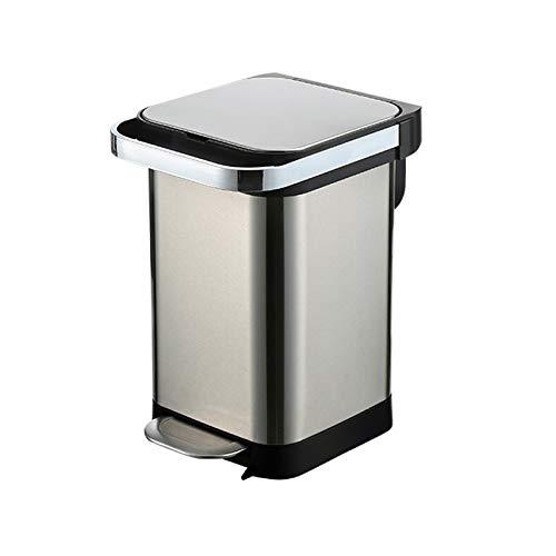 Bote de basura Pedal del bote de basura de acero inoxidable de gran capacidad del hogar Bote de basura de la cocina sala de estar con tapa cubo de basura (25 litros / 6.6 galones) Bote de basura cocin