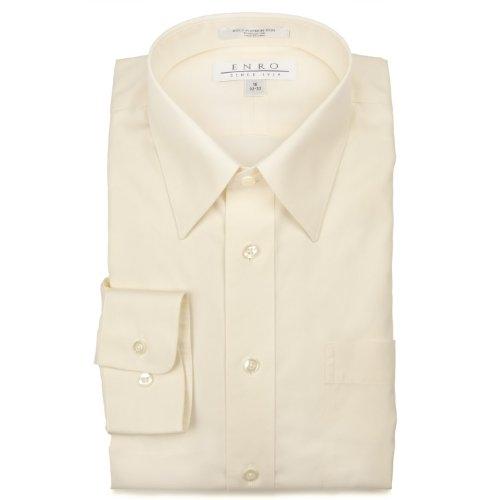Enro Non-Iron Cotton Button Down Collar Dress Shirt 16 1/2 x 32/33 Ecru