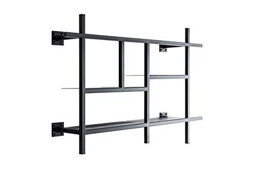MONOISTA Regal KOBO| Bücherregal schwarz mit 5 Fächern | Modernes Design Regal aus schwarzem Stahl
