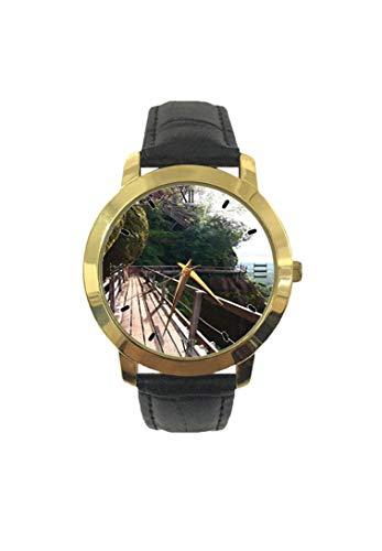 PHU Thok Photo - Reloj de Pulsera para Hombre con diseño de Escalera y muelles de Madera en Las montañas Rocas y la Naturaleza Salvaje